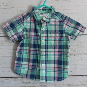 Plaid Short-sleeved Button-down Shirt
